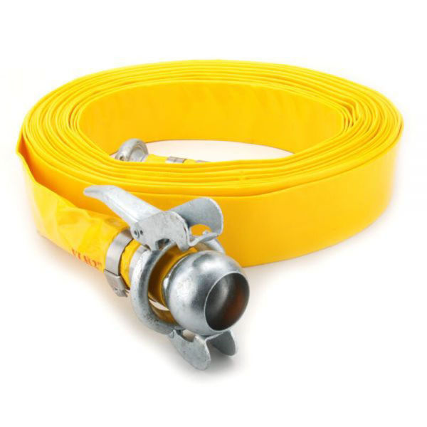 """6"""" (152mm) - YELLOW LayFlat Hose c/w Bauers Fitted With Single Bolt Clamps PVC (25MT Length)"""